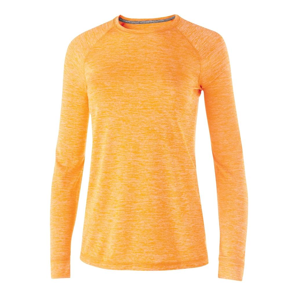 Medium, Navy Heather Holloway Youth Electrify 2.0 Long Sleeve Shirt