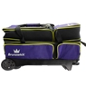 Brunswick Crown Deluxe Triple Roller Bowling Bag- Purple/Yellow
