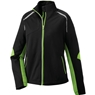 Ash City Ladies Dynamo Hybrid Performance Soft Shell Jacket- Black Acid Green/Black Silk