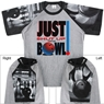 Just Shut Up and Bowl T-Shirt with Bowling Sleeve Design