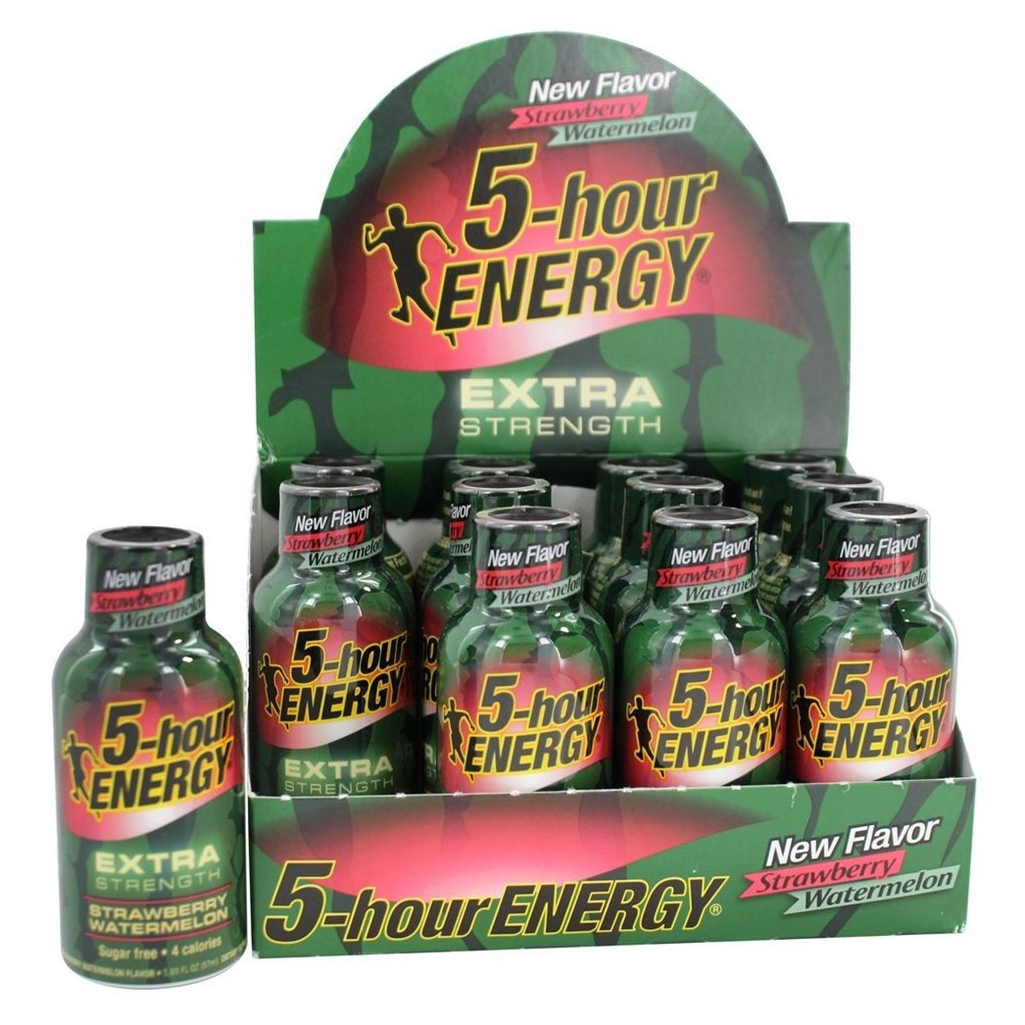 5 Hour Energy Shot Extra Strength Strawberry/Watermelon- 12 Pack of 2 Ounce Bottles