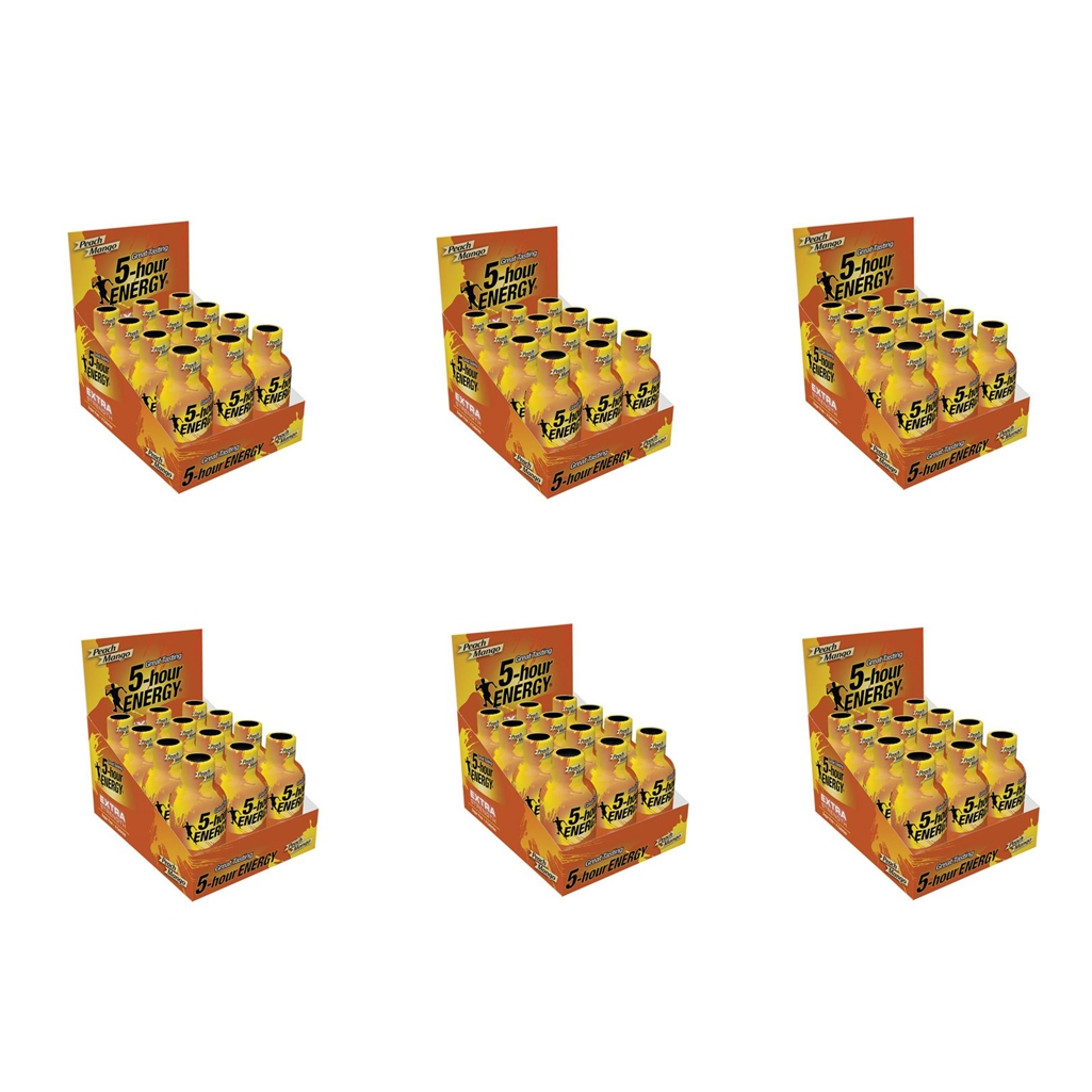 5 Hour Energy Shot Extra Strength Peach Mango- 72 Pack of 2 Ounce Bottles