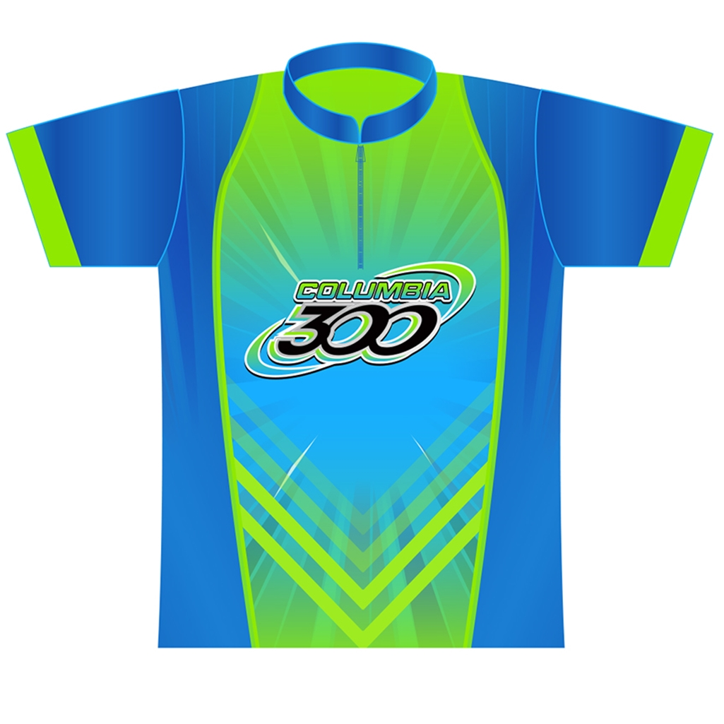 Columbia 300 Bowling Speed Dye-Sublimated Jersey- Lime/Blue