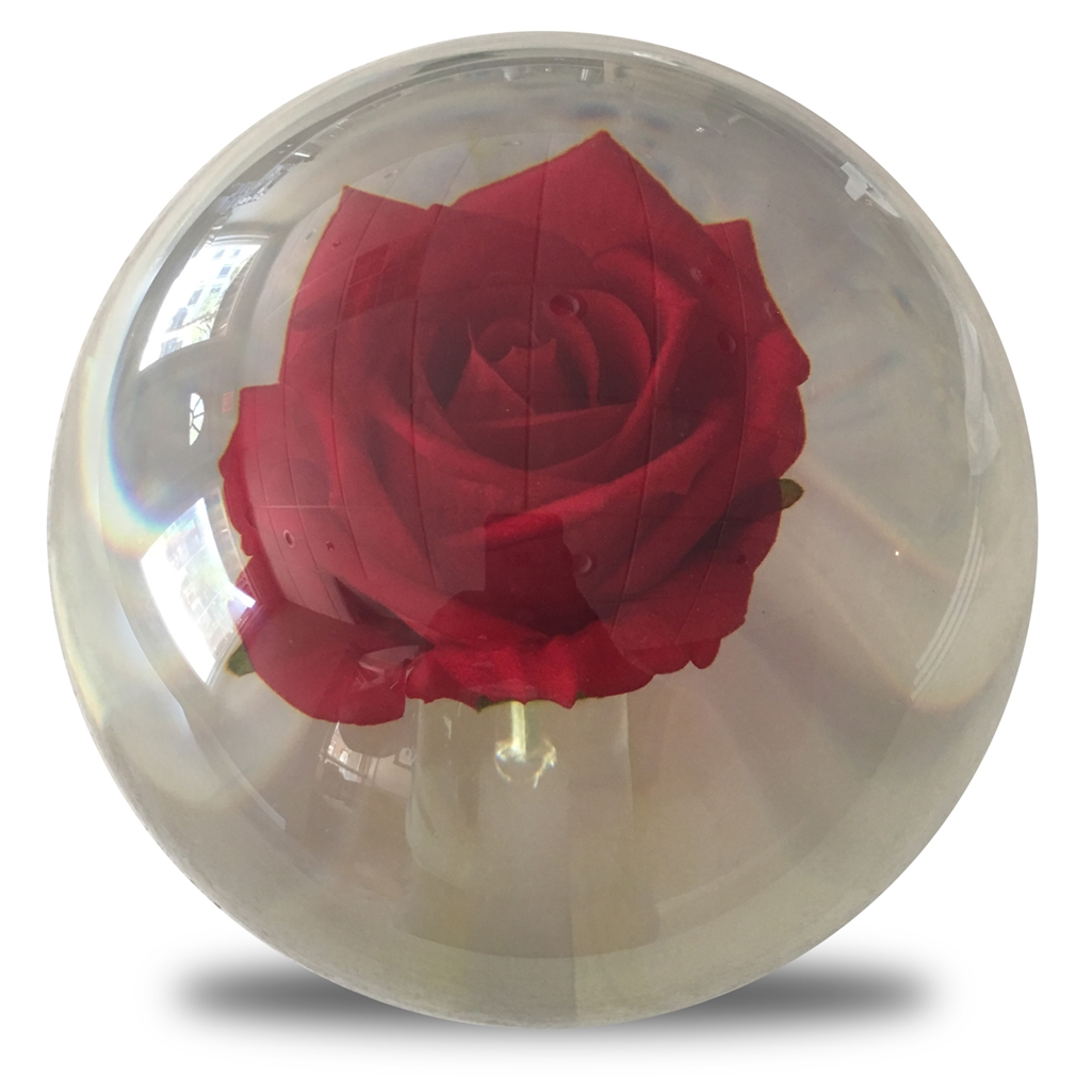 Clear Red Rose Bowling Ball- 14lbs