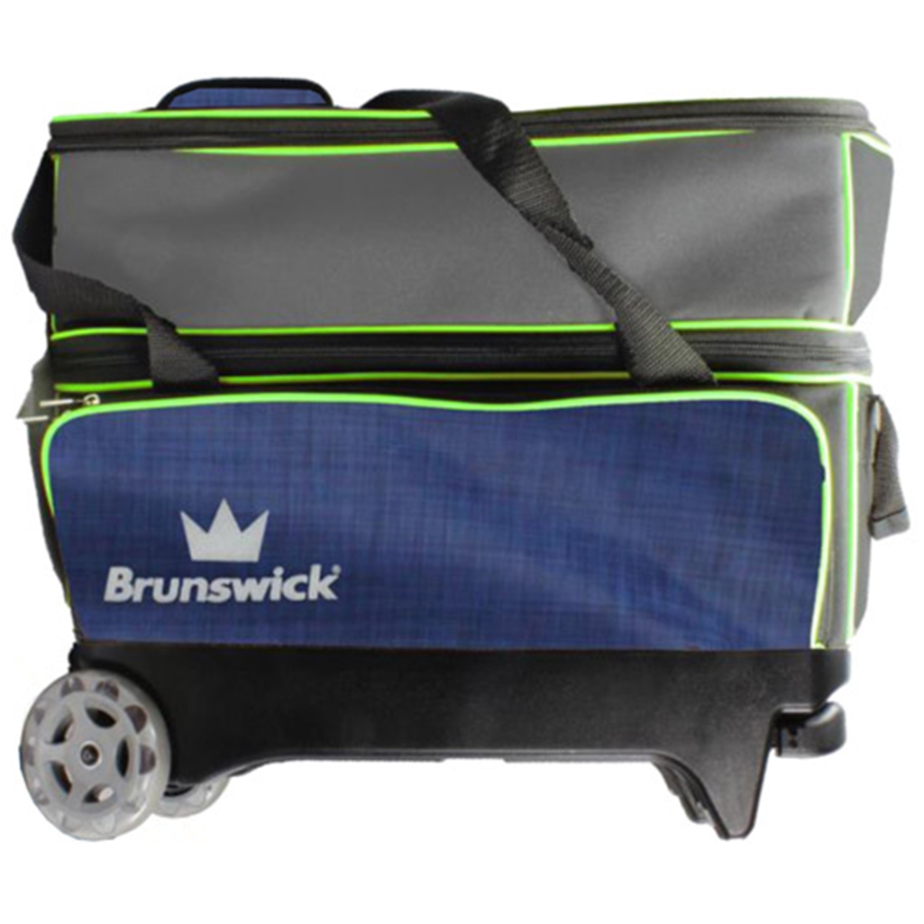Brunswick Crown Double Roller Bowling Bag- Navy/Lime