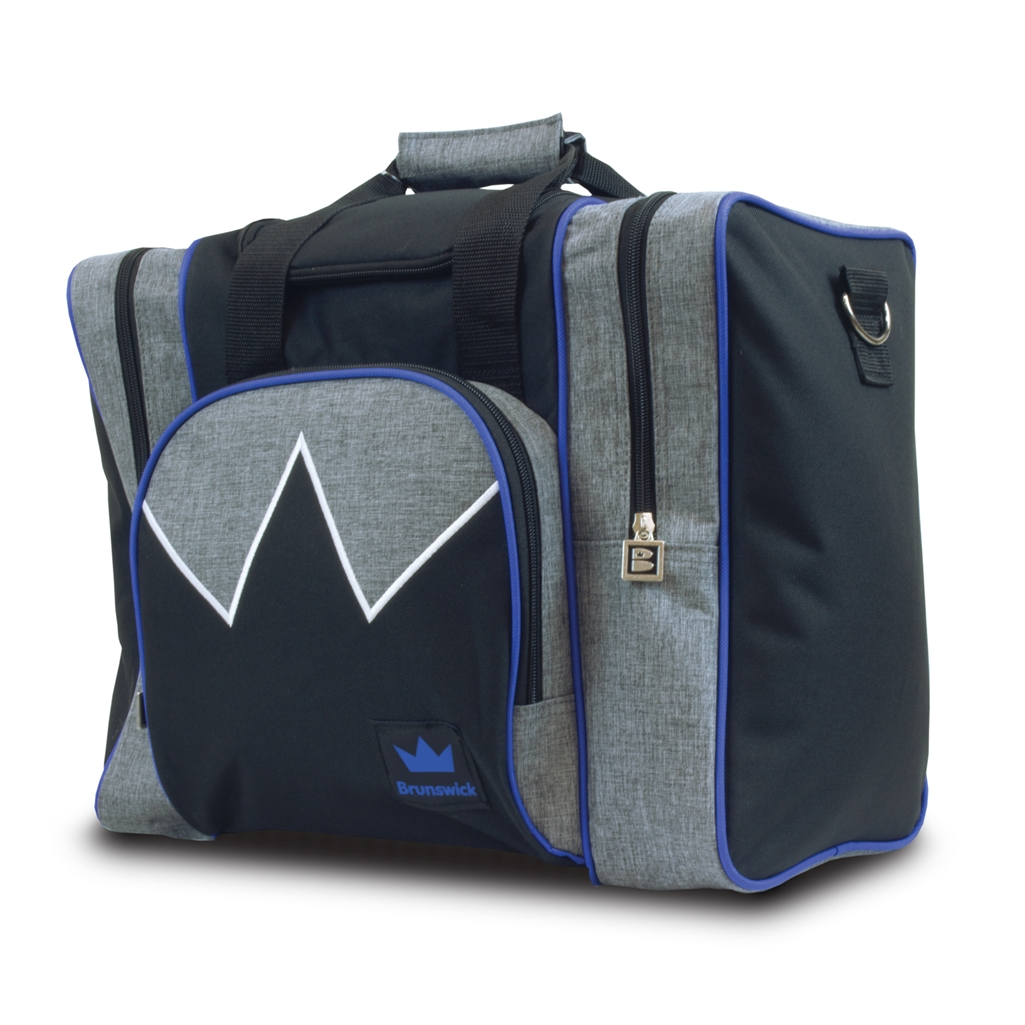 Brunswick Edge Single Tote Bowling Bag- Grey/Royal