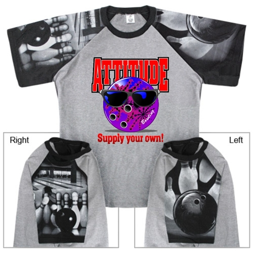 Bowling Attitude T-Shirt with Bowling Sleeve Design