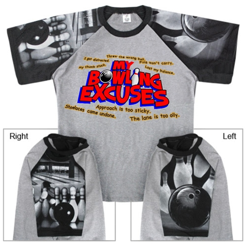 Bowling Excuses T-Shirt with Bowling Sleeve Design